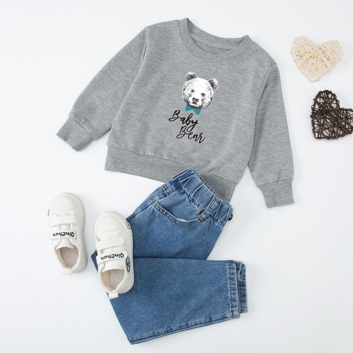 Toddler Boys 1pack Bear Print Sweatshirt, SHEIN  - buy with discount