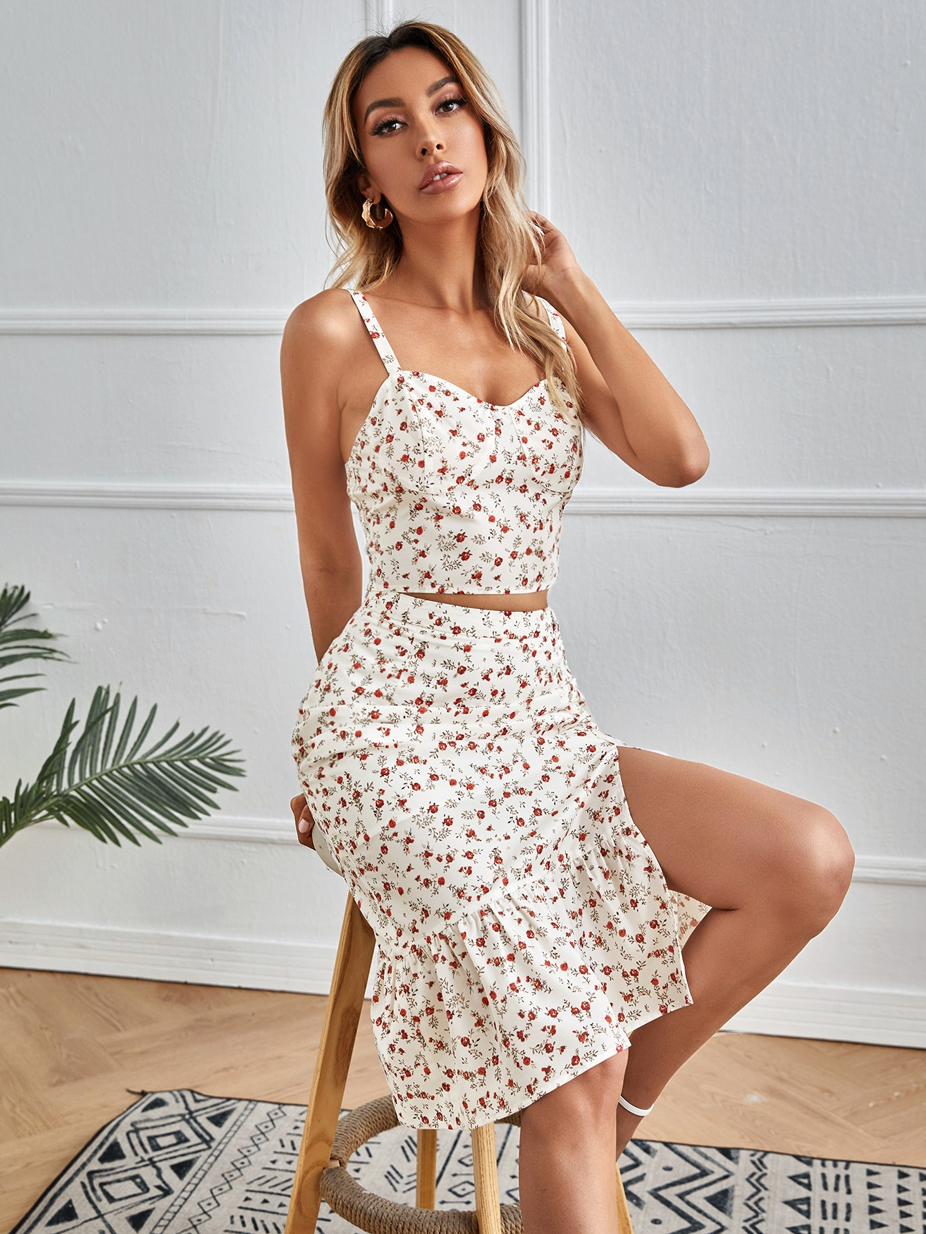 Ditsy Floral Cami Top & Split Hem Skirt Set thumbnail