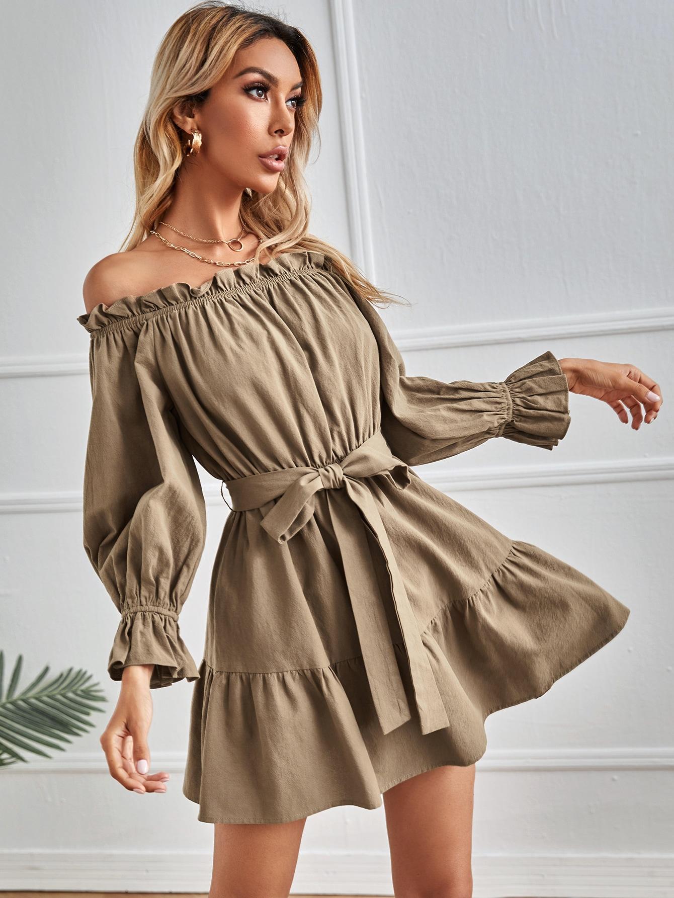 Off Shoulder Ruffle Hem Belted Dress thumbnail
