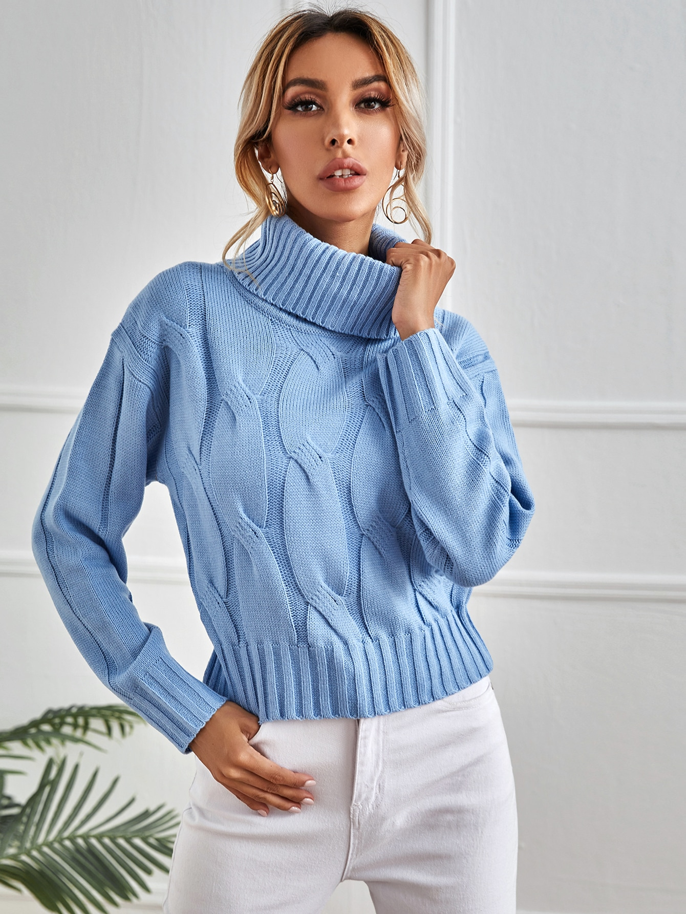 Rolled Neck Cable Knit Sweater thumbnail