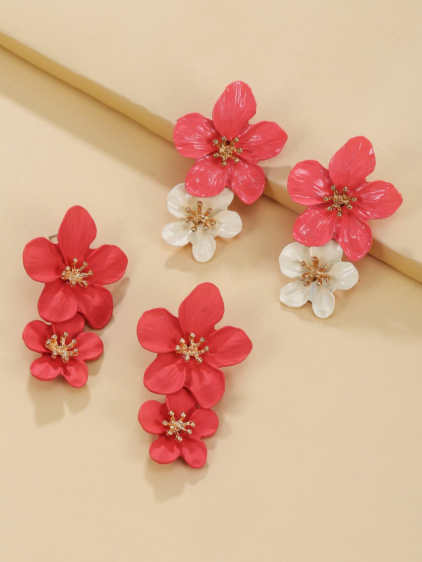 2pairs Flower Drop Earrings thumbnail