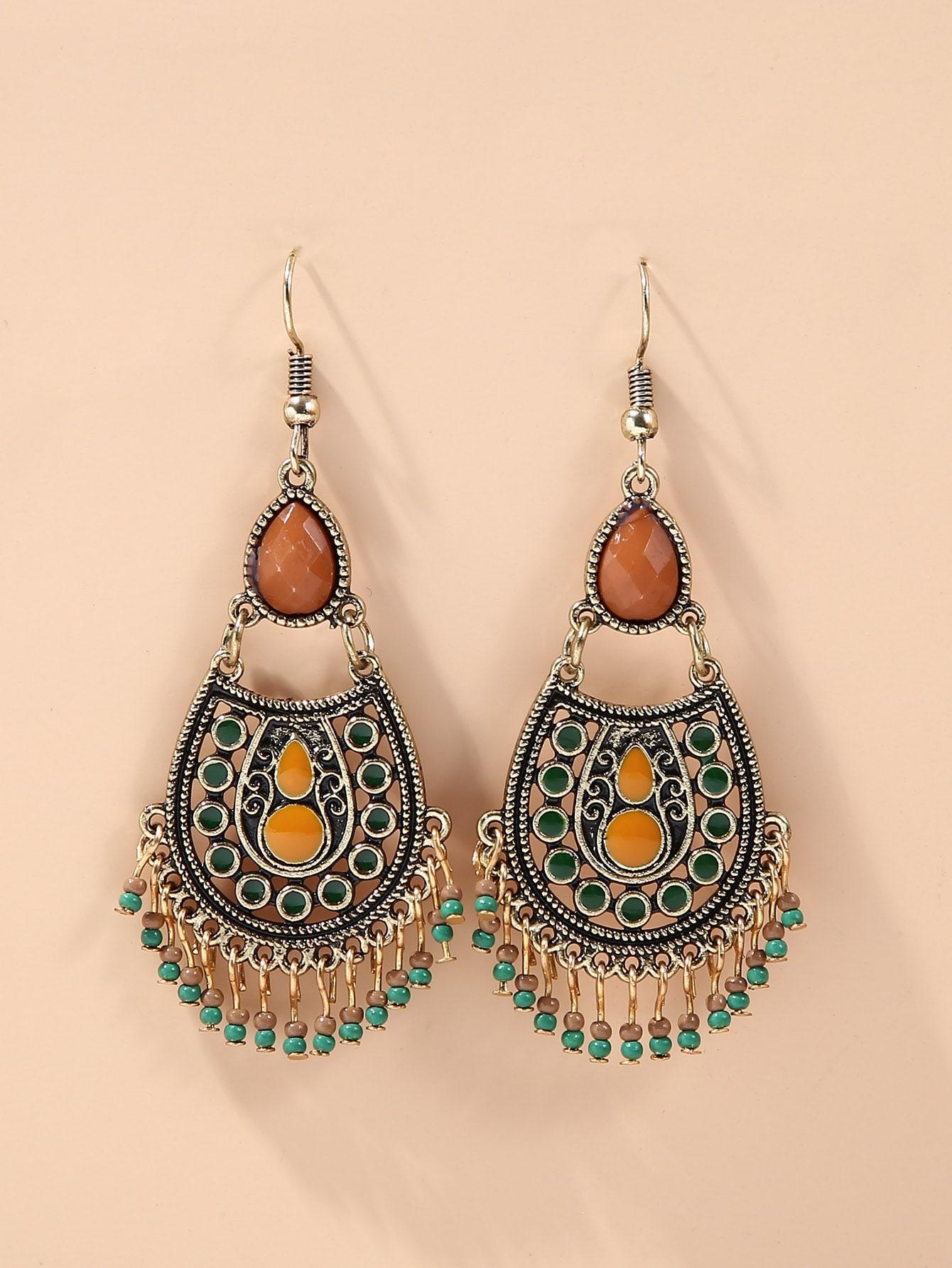Bead Tassel Charm Drop Earrings thumbnail