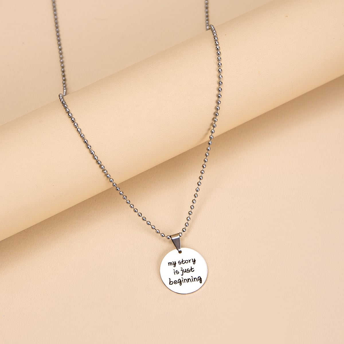 Letter Design Round Charm Necklace, SHEIN  - buy with discount