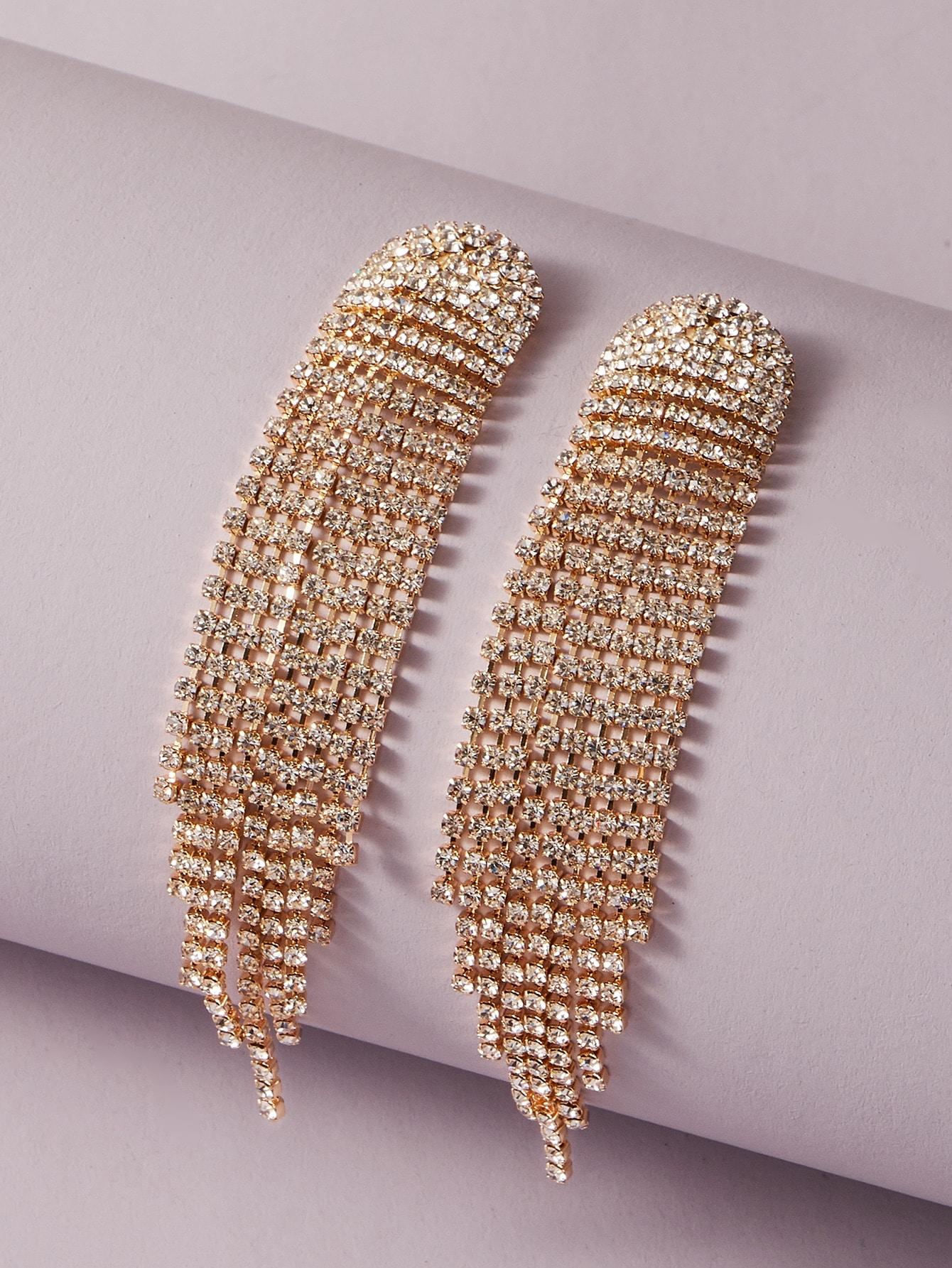 Rhinestone Tassel Decor Drop Earrings thumbnail