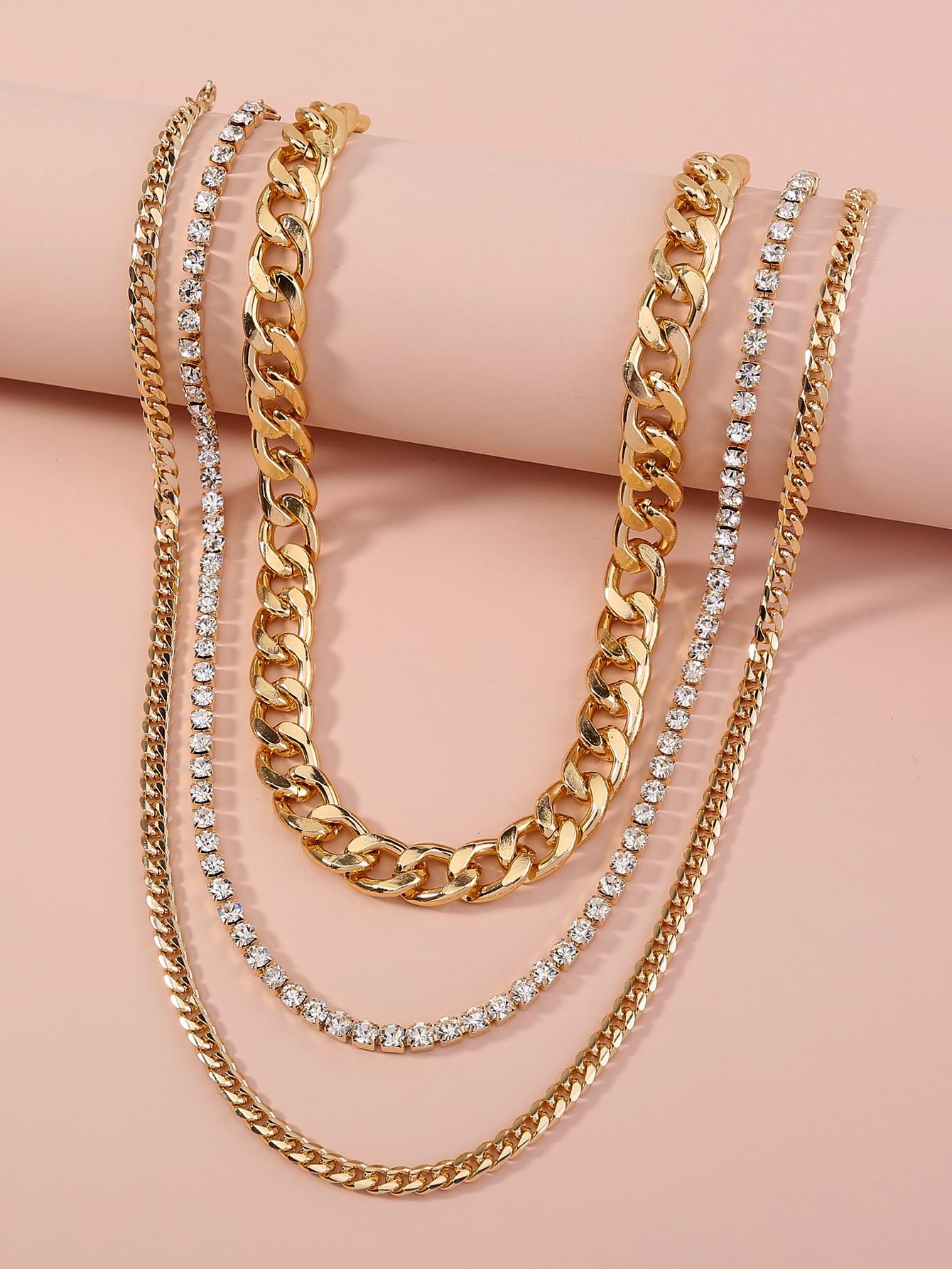 3pcs Rhinestone Detail Necklace thumbnail