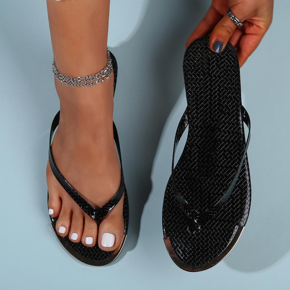 Вьетнамки с металлическим краем SheIn swshoes03201218045