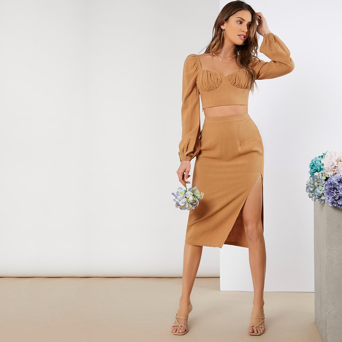 SHEIN / Lantern Sleeve Ruched Bust Top & Split Thigh Skirt Set