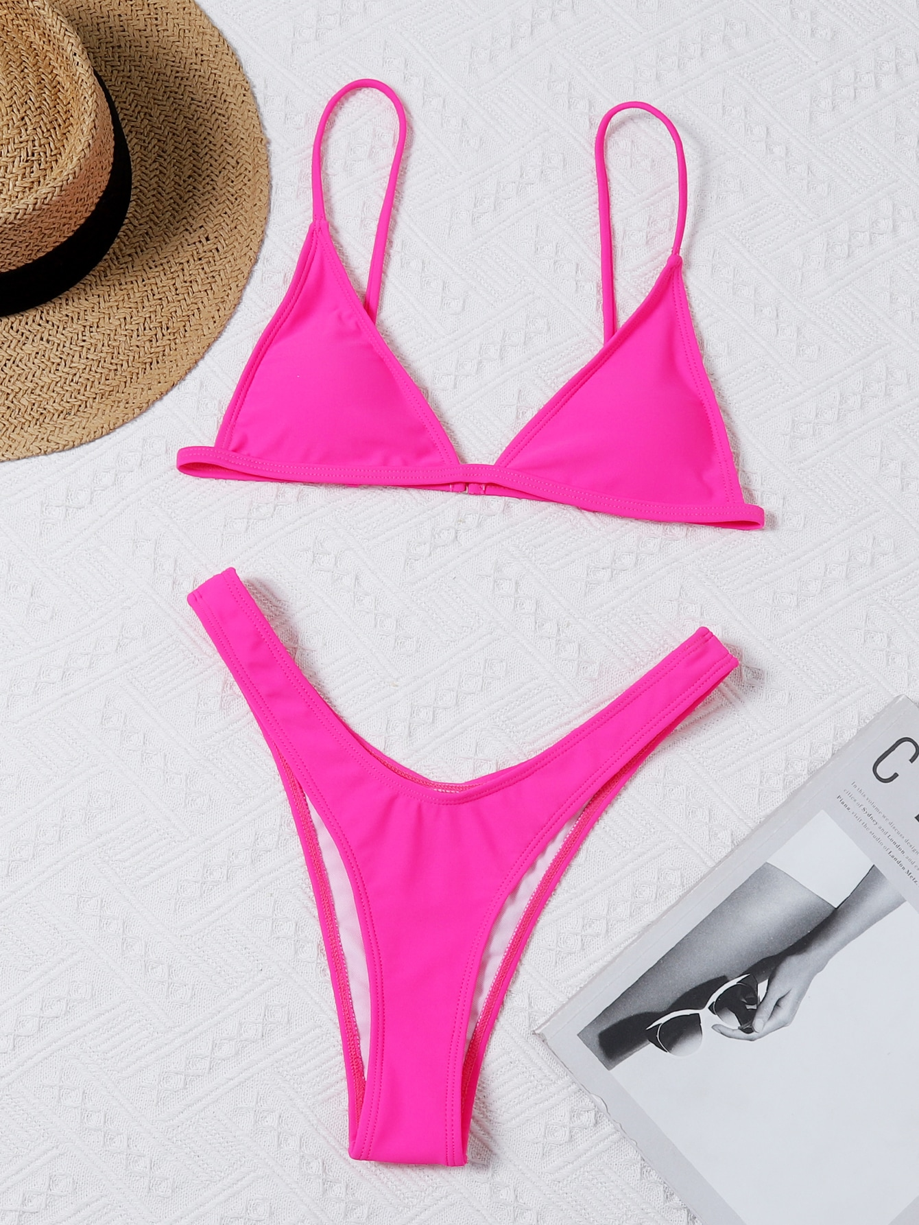 Solid Triangle High Cut Bikini Swimsuit thumbnail