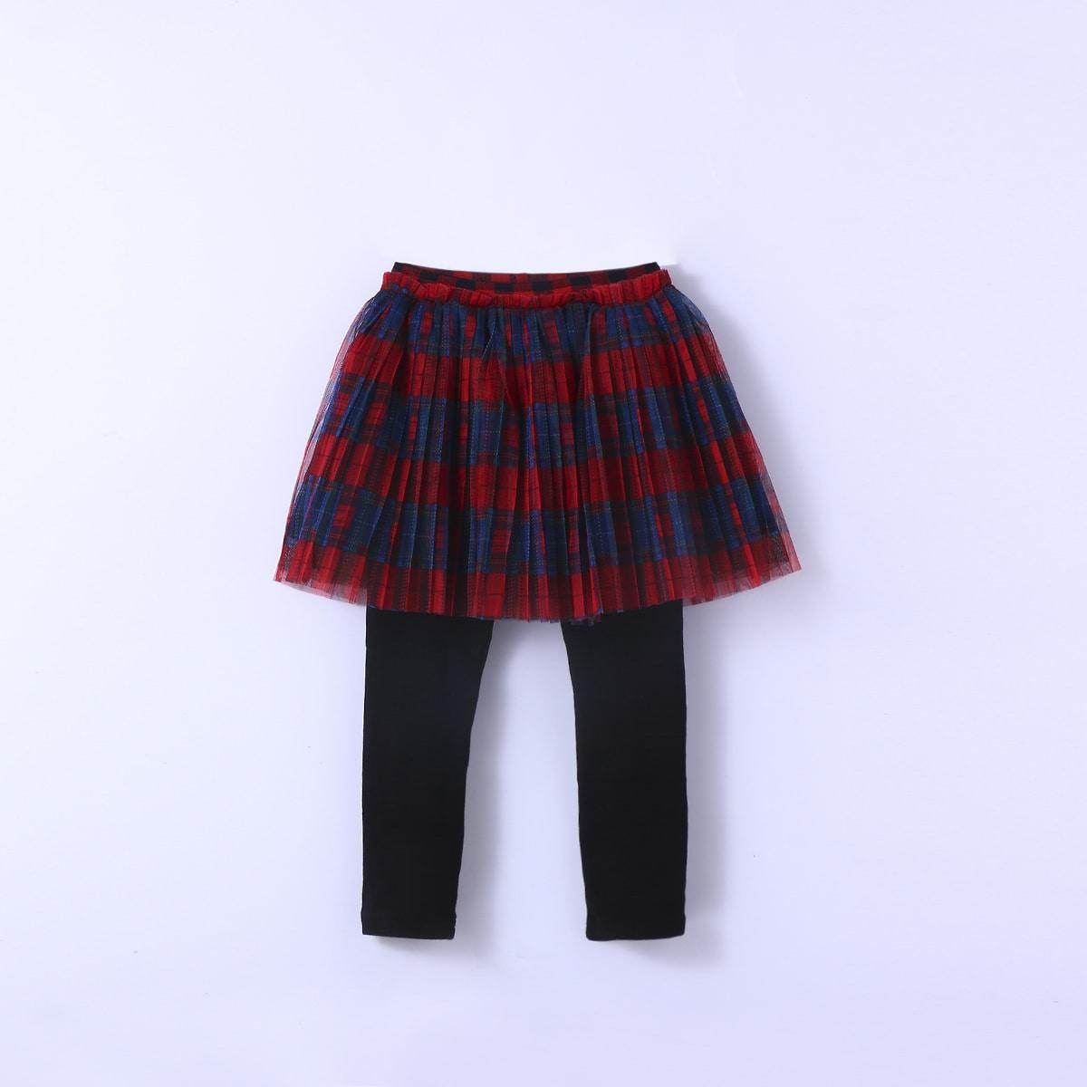Контрастная сетка в клетку институтский брюки для маленьких девочек