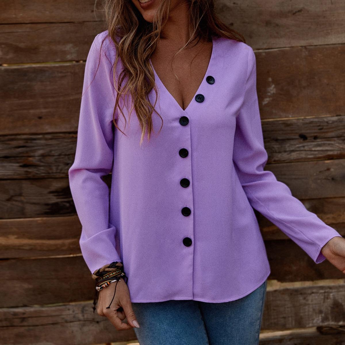 Пуговица Одноцветный Повседневный Блузы