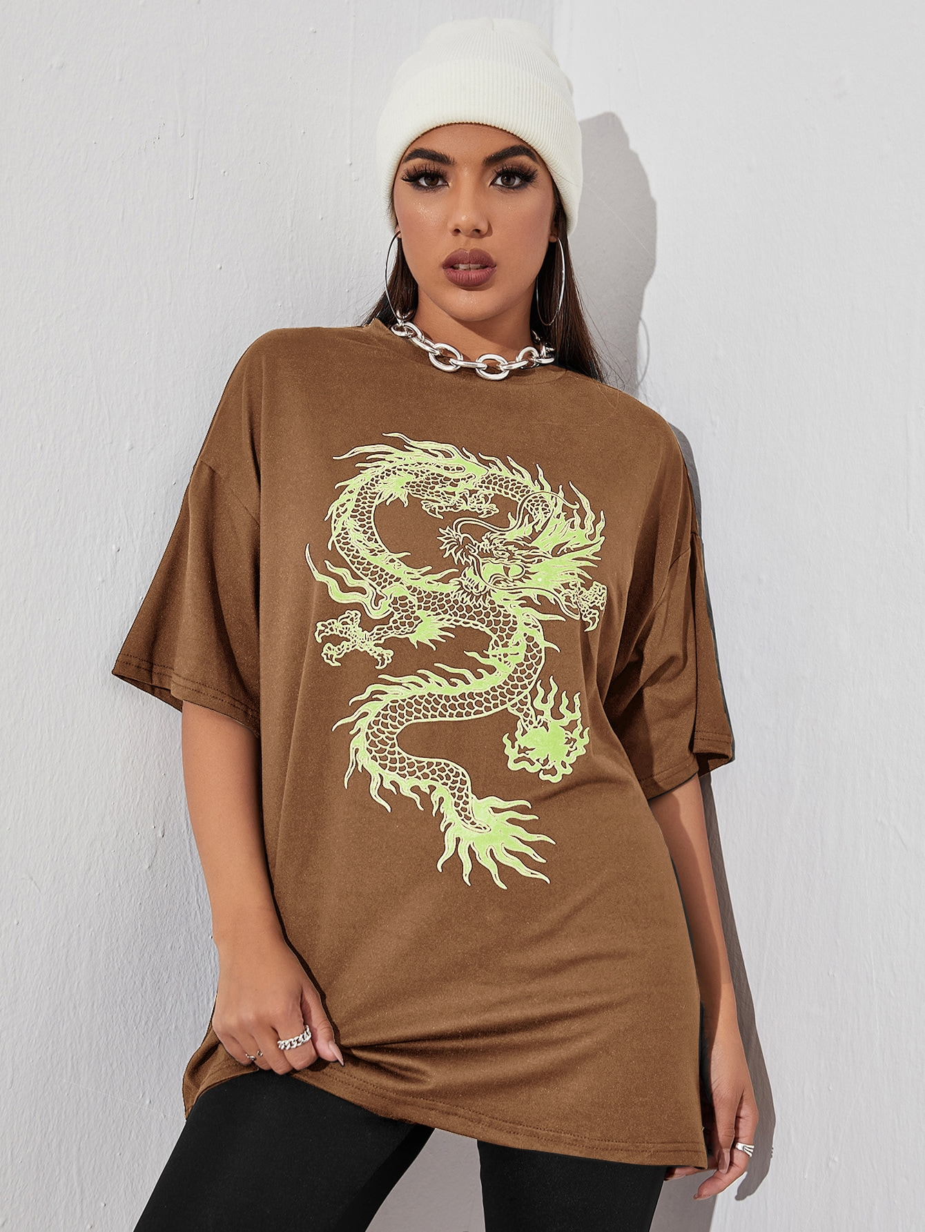 Chinese Dragon Graphic Drop Shoulder Oversized Tee thumbnail