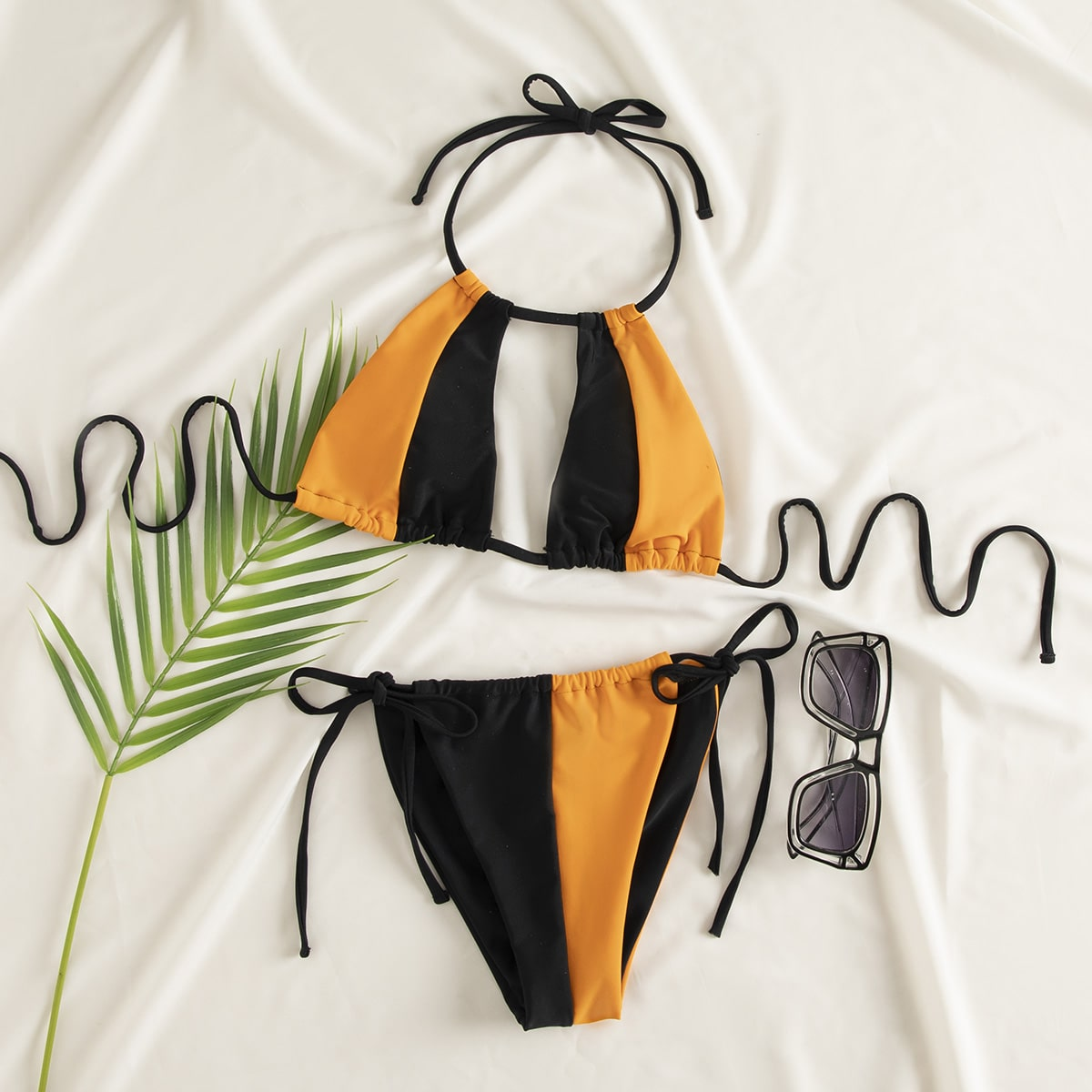 Two Tone Cut-out Tie Side Bikini Swimsuit, SHEIN  - buy with discount
