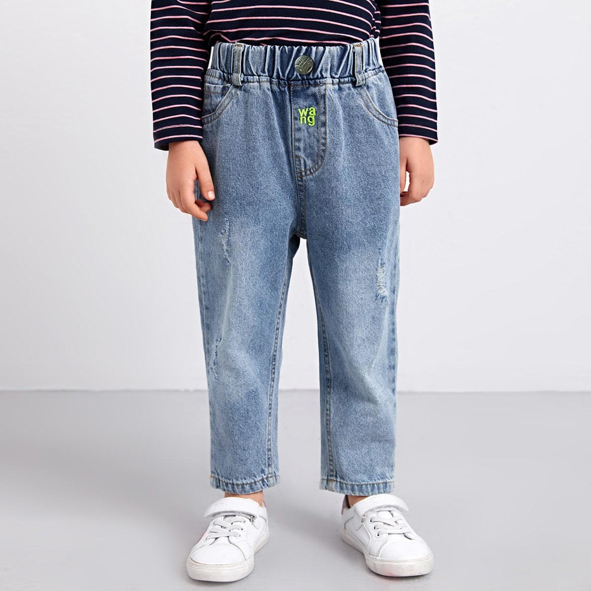 Рваные джинсы с текстовой вышивкой для девочек