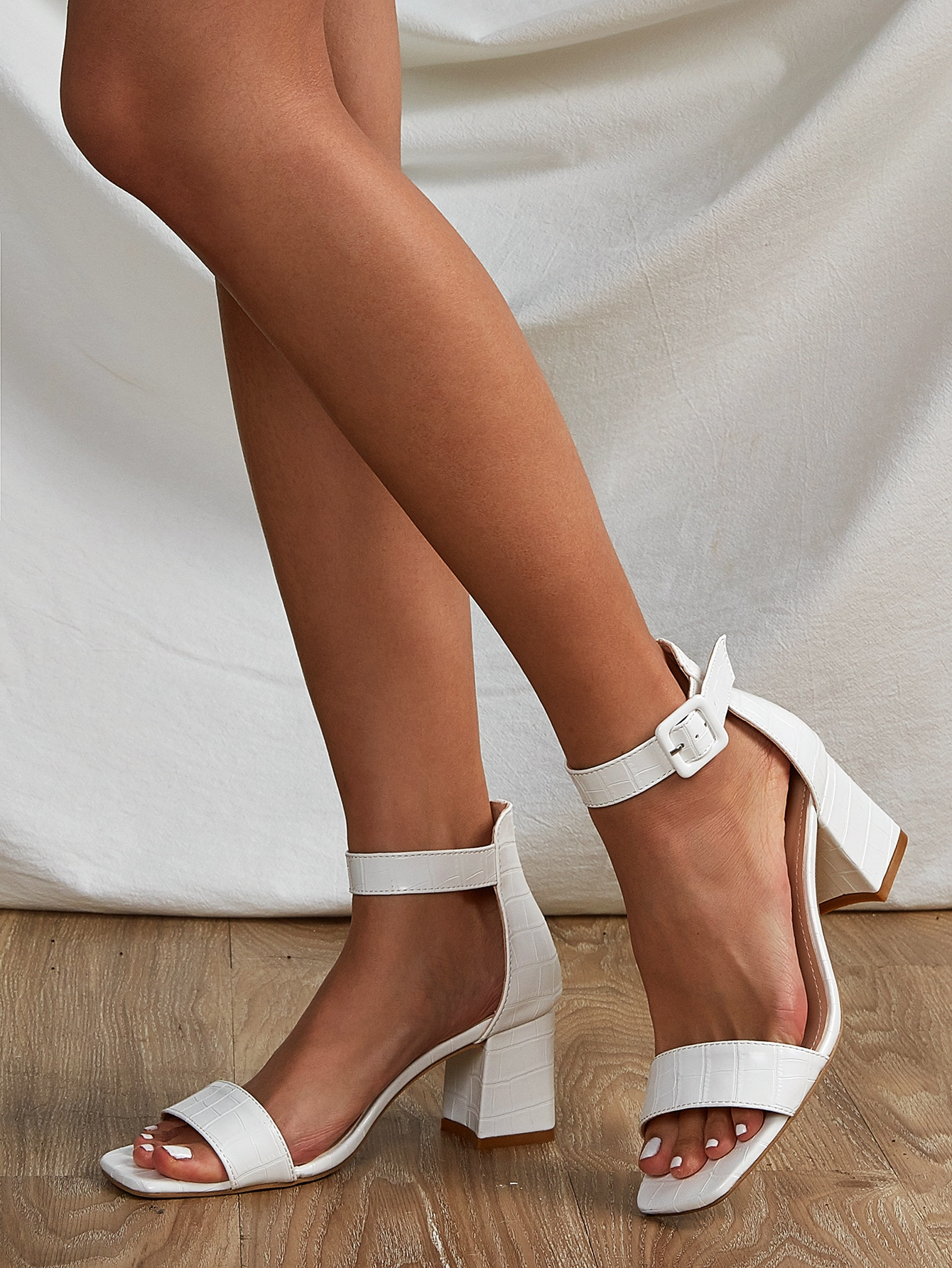croc embossed chunky heeled ankle sandals