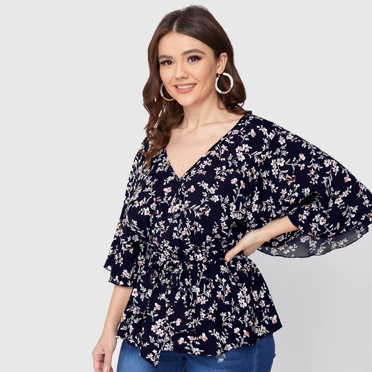 Блузка размера плюс с поясом, v-образным воротником и цветочным принтом