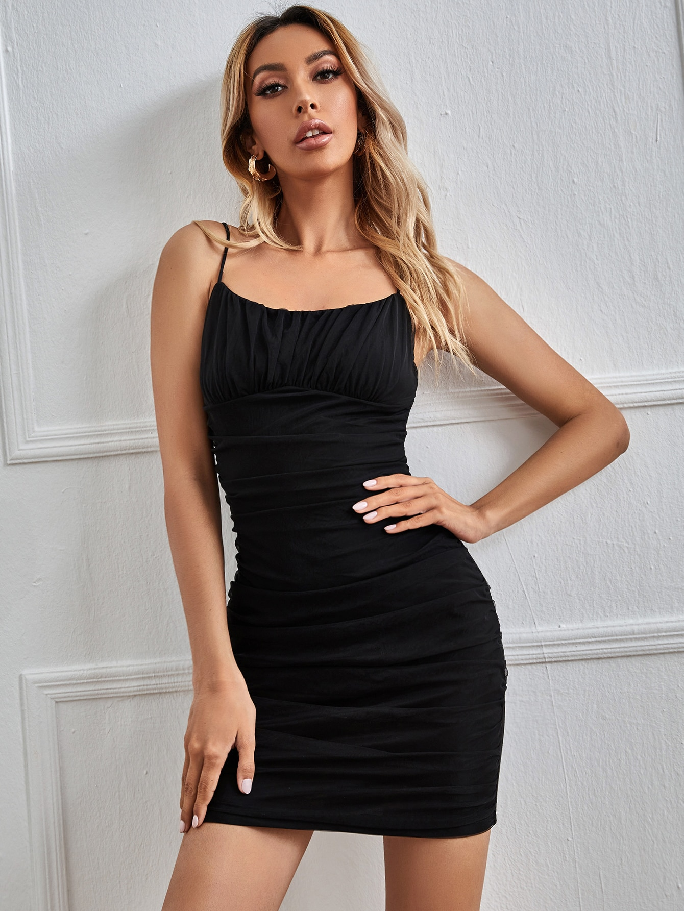 Ruched Detail Solid Bodycon Dress thumbnail