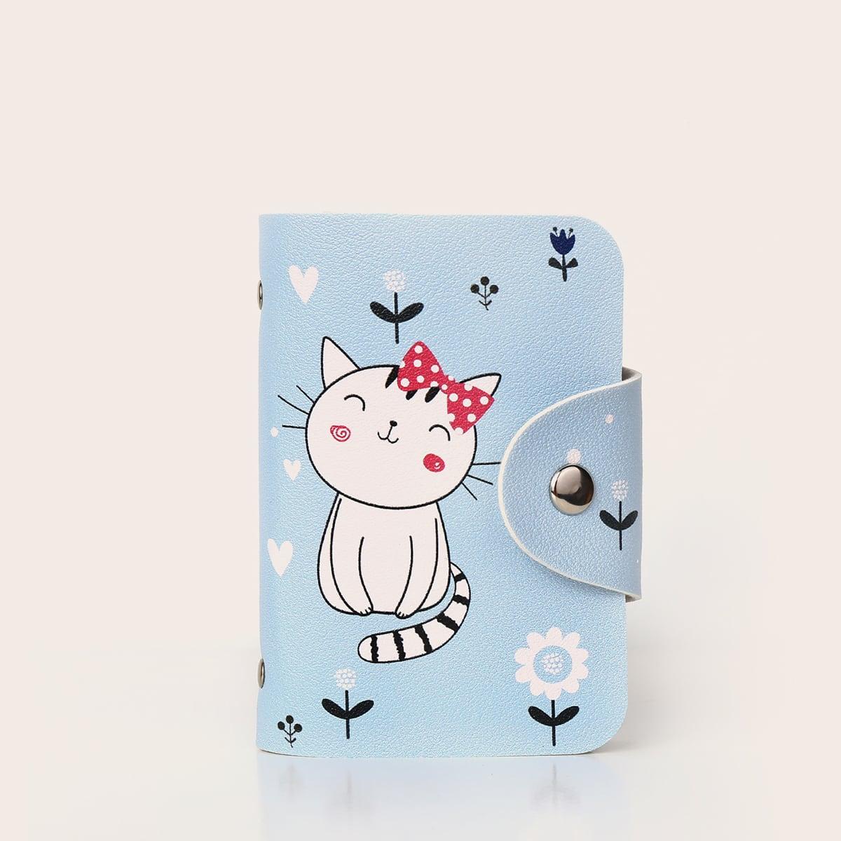 Snap Button Cartoon Graphic Card Holder