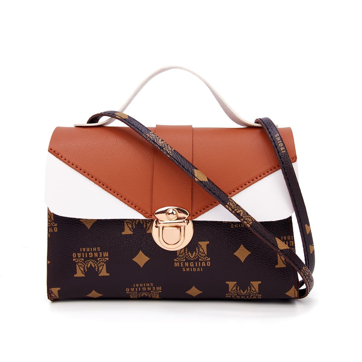 SHEIN / Push Lock Graphic Satchel Bag