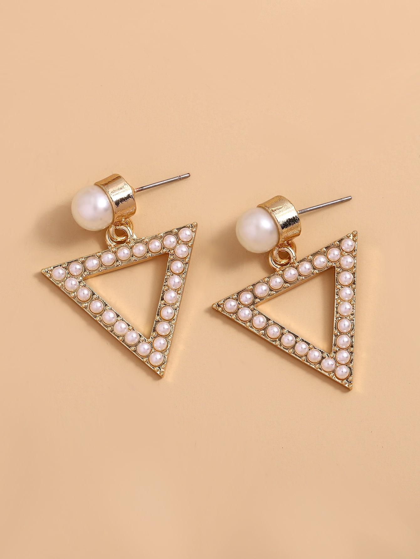 Faux Pearl Triangle Drop Earrings thumbnail