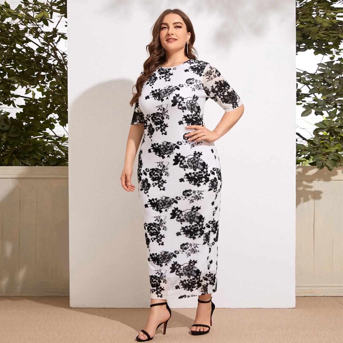 Цветочный Элегантный Платья размер плюс
