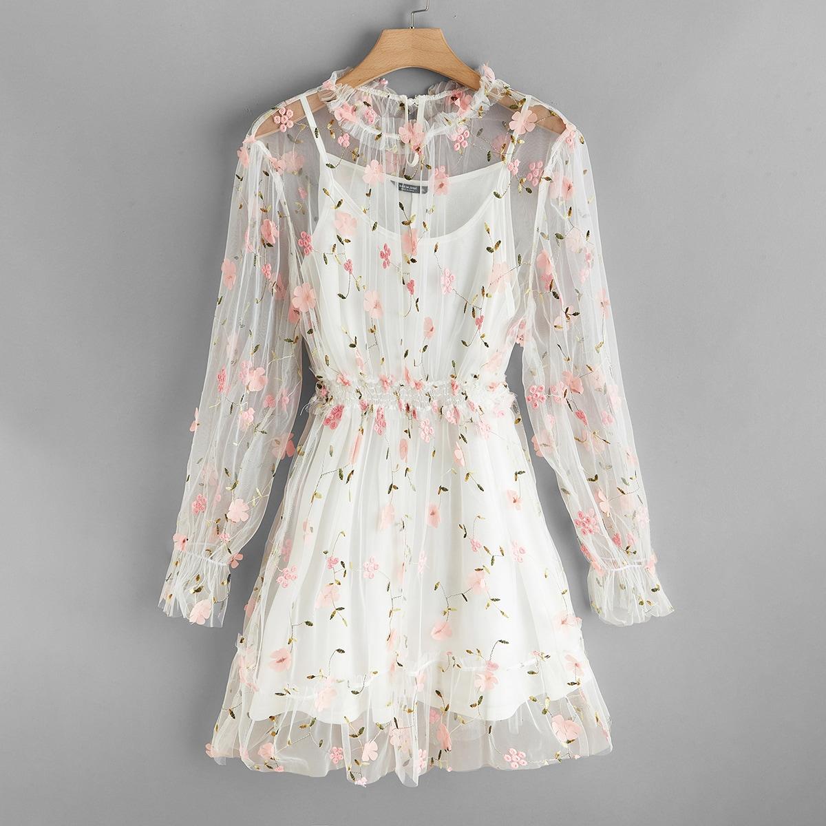 Аппликация Цветочный Романтический Платья размер плюс