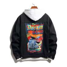 Guys Car & Slogan Graphic Denim Jacket Without Hoodie