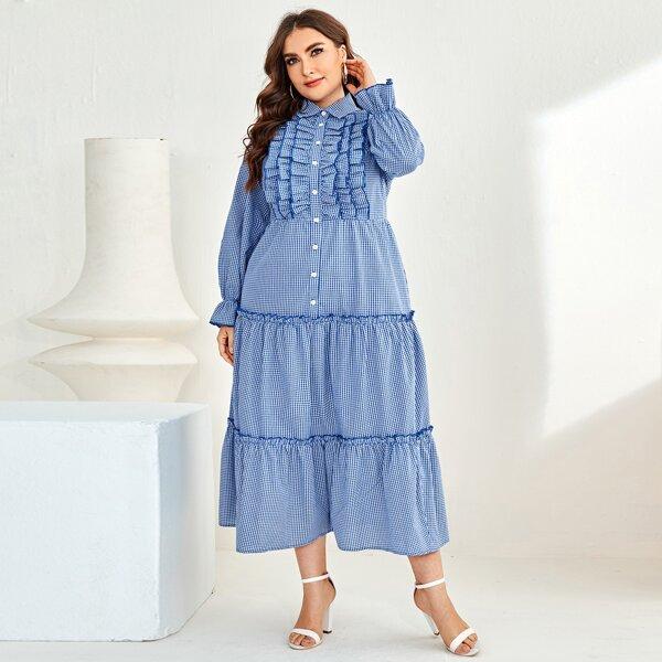 Plus Ruffle Trim Layered Frill Hem Gingham Dress, Blue and white