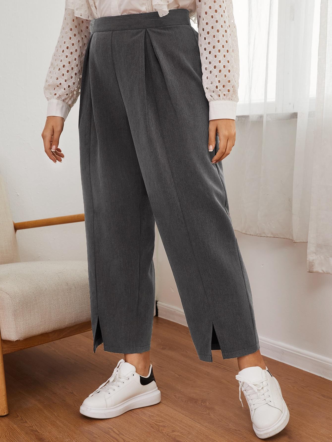 Plus Fold Pleated Split Hem Pants thumbnail
