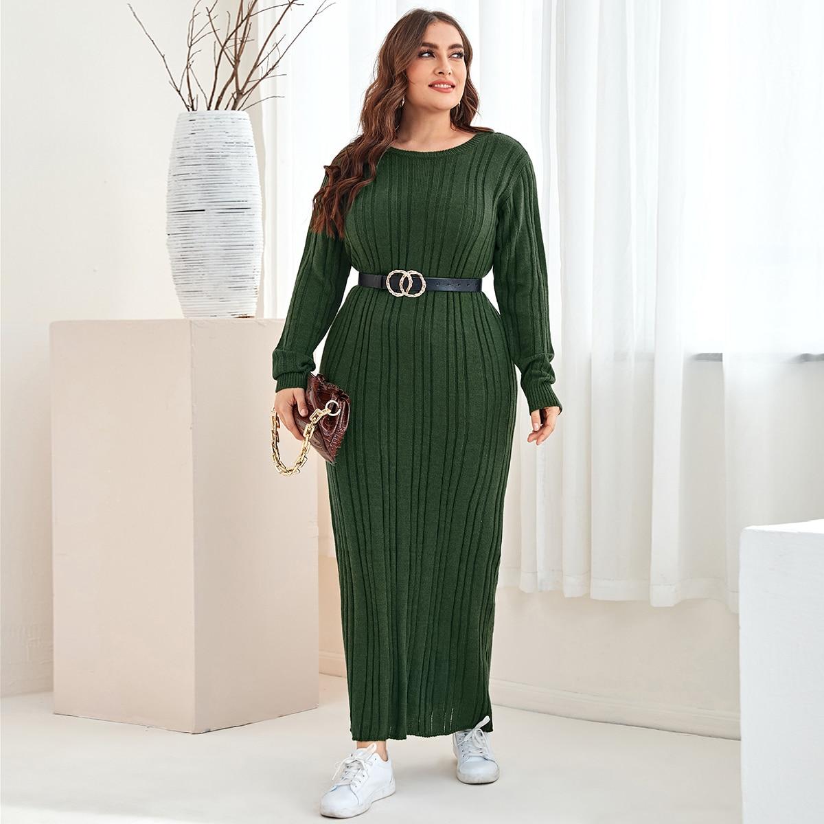 трикотажный Одноцветный Повседневный Свитер-платье размер плюс