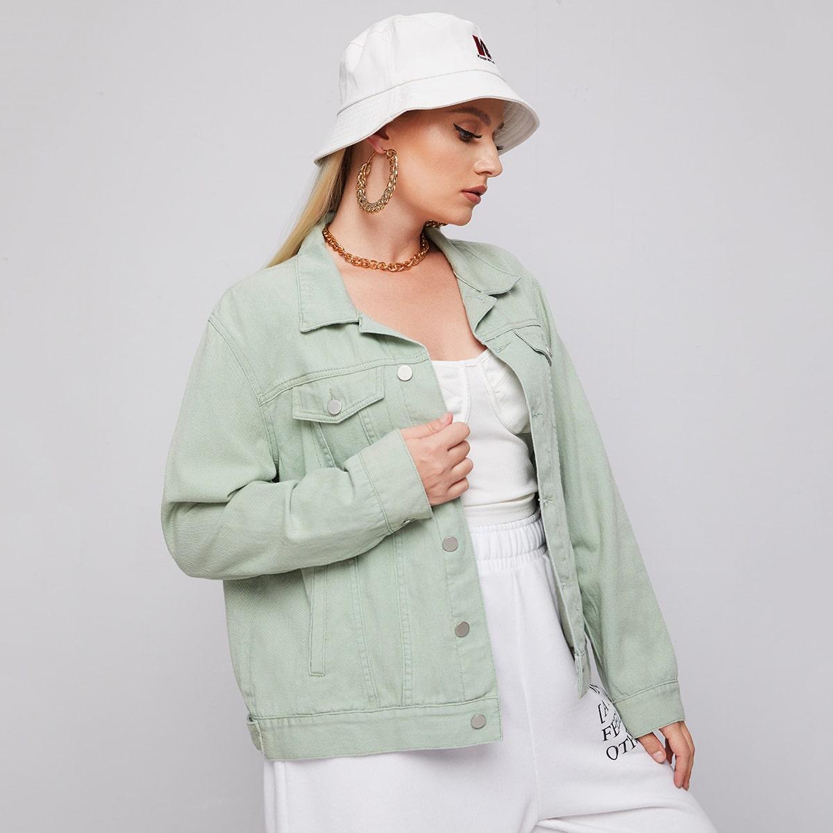 Пуговица Одноцветный Повседневный Джинсовая куртка размера плюс