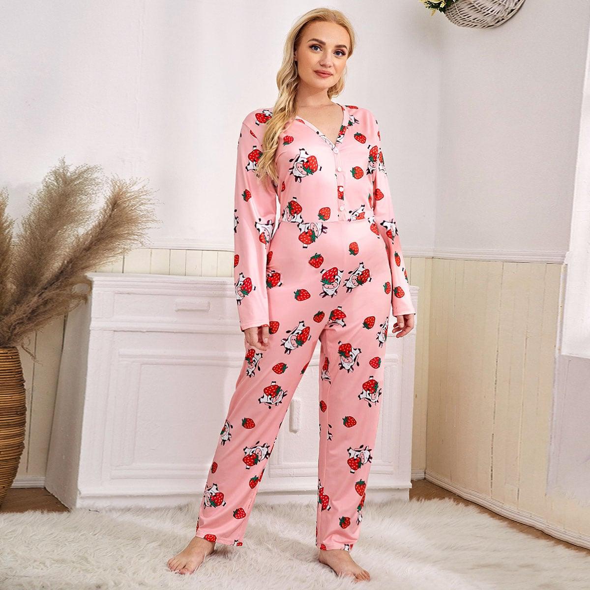 Пуговица мультяшный принт милый пижамный комбинезон размера плюс