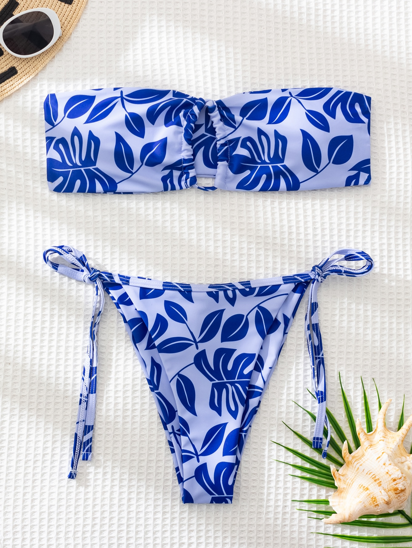 Leaf Print Cut Out Bandeau Bikini Swimsuit thumbnail