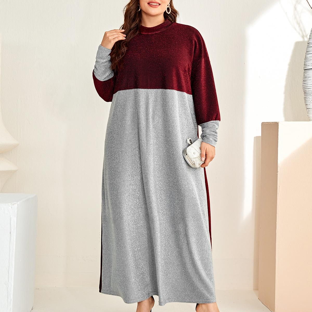 Контрастный цвет Очаровательный Платья размер плюс