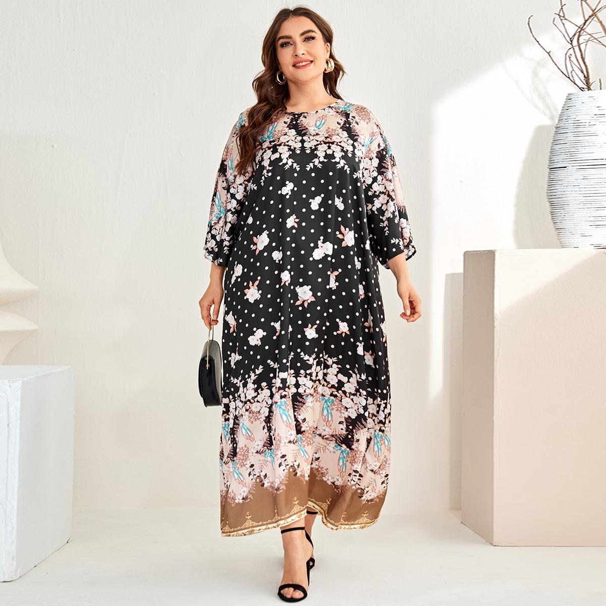 Цветочный Скромный Платья размер плюс