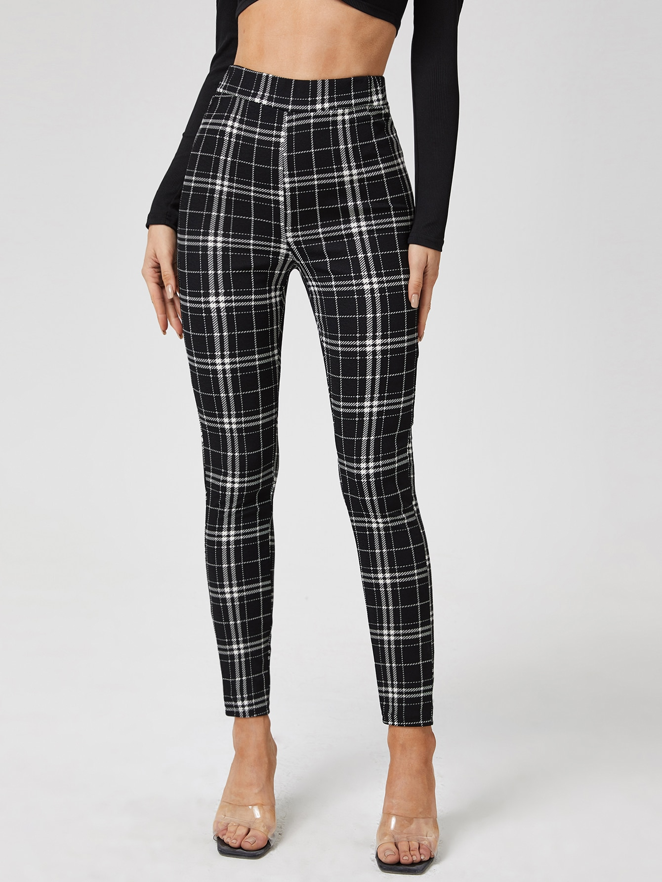 Plaid Print High Waisted Skinny Pants thumbnail