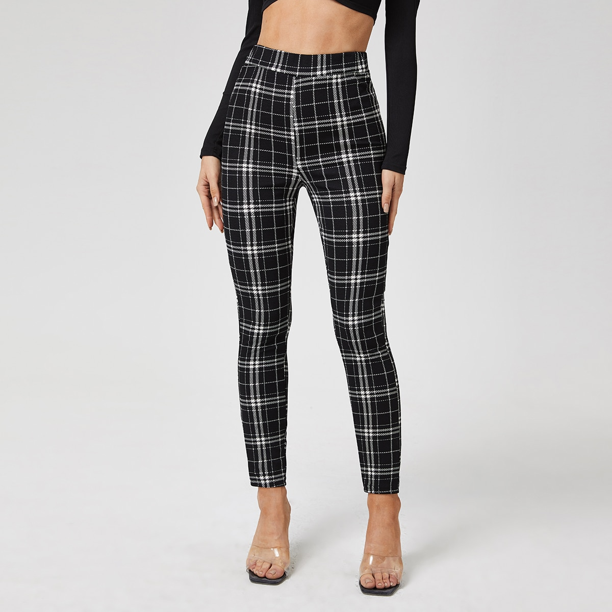 Plaid Print High Waisted Skinny Pants, SHEIN  - buy with discount