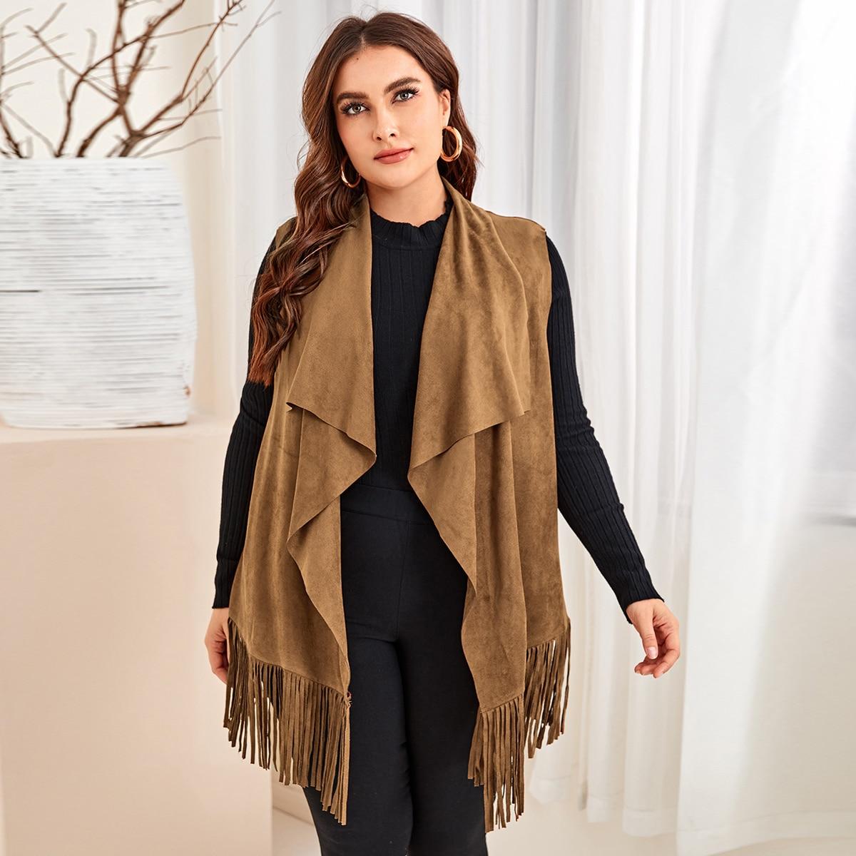 с бахромой Одноцветный Повседневный Плюс размеры пальто