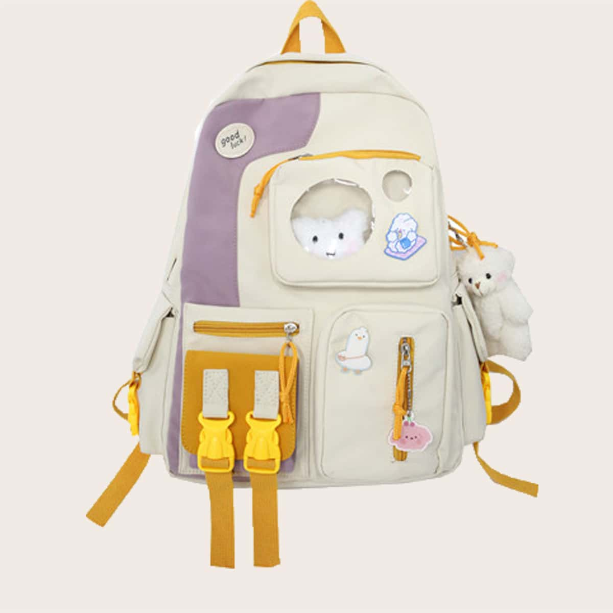 SHEIN / Cartoon Decor Color Block School Bag