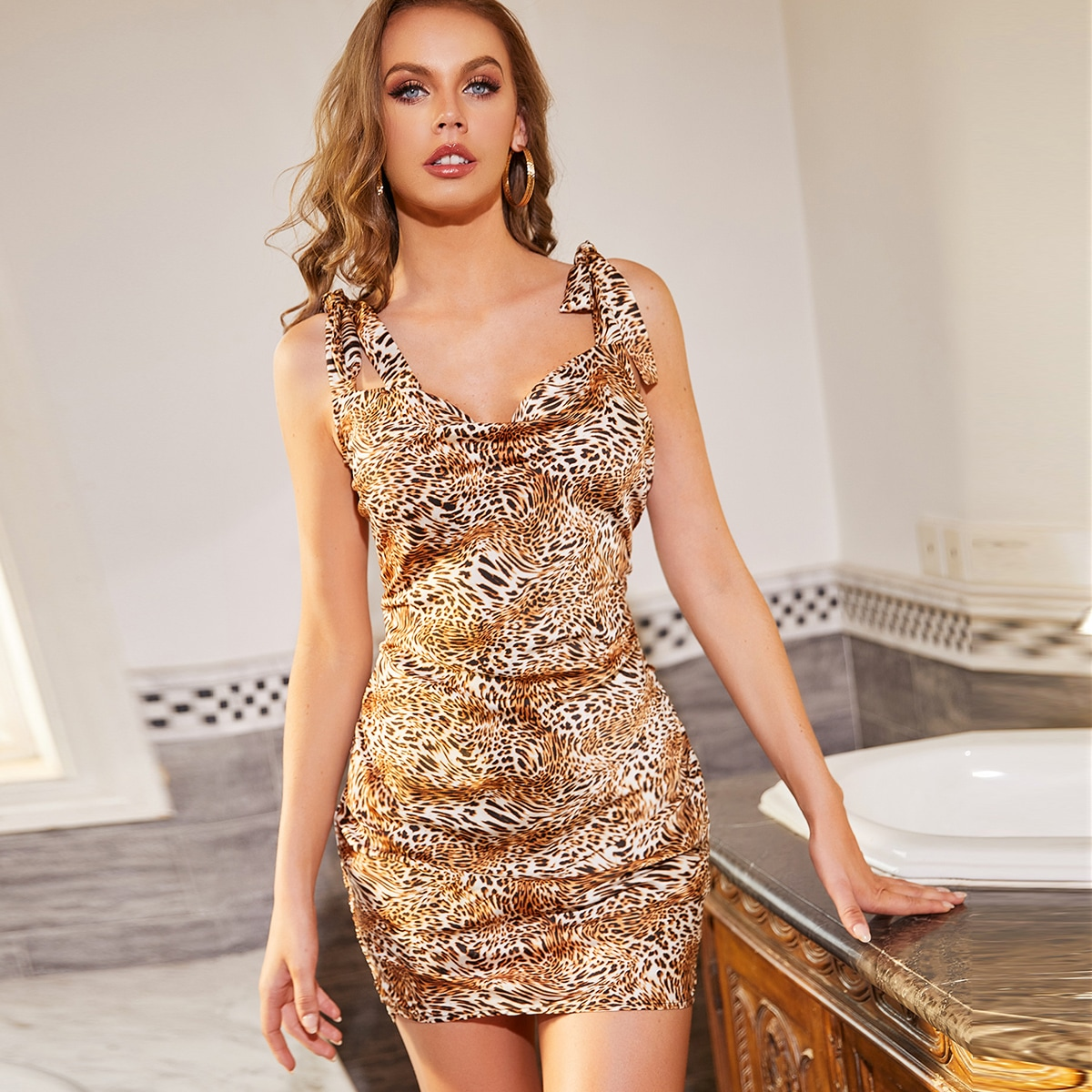 Knotted Shoulder Ruched Leopard Print Dress, SHEIN  - buy with discount