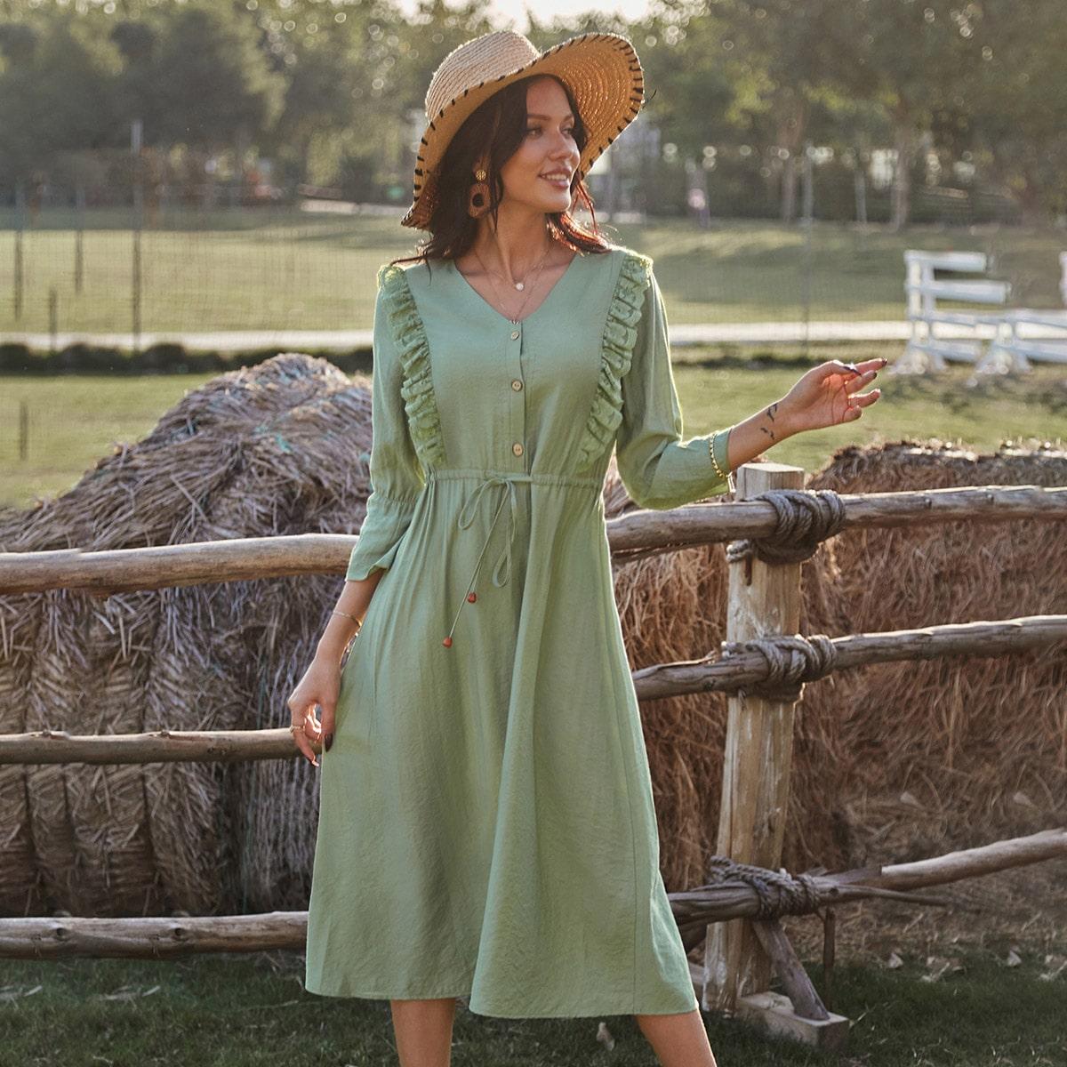 на пуговицах Одноцветный Повседневный Платье