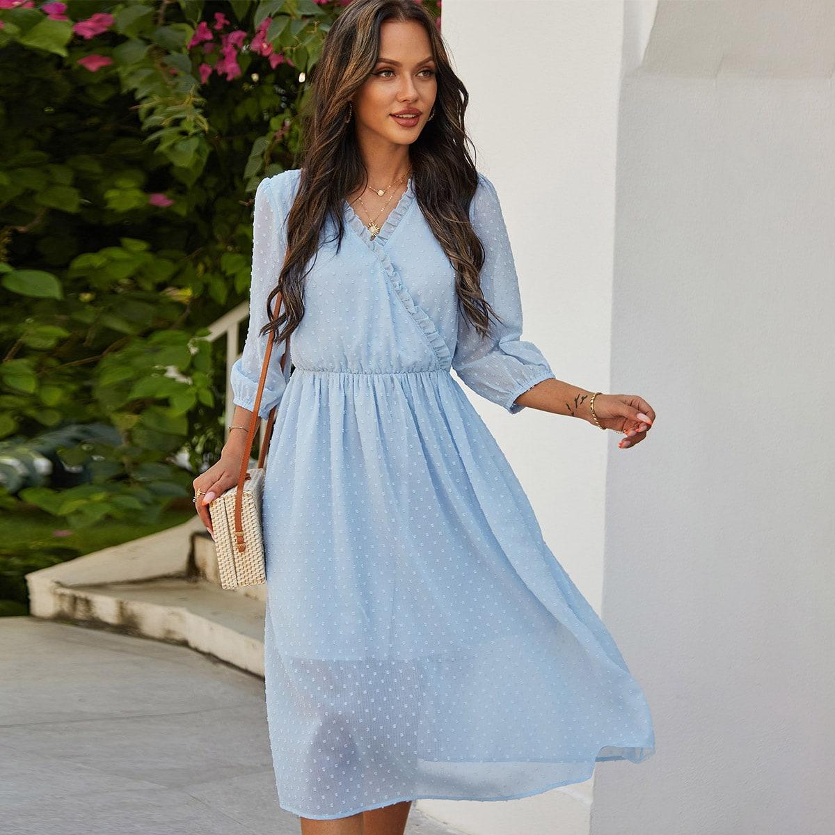 Оборка Одноцветный Романтический Платье