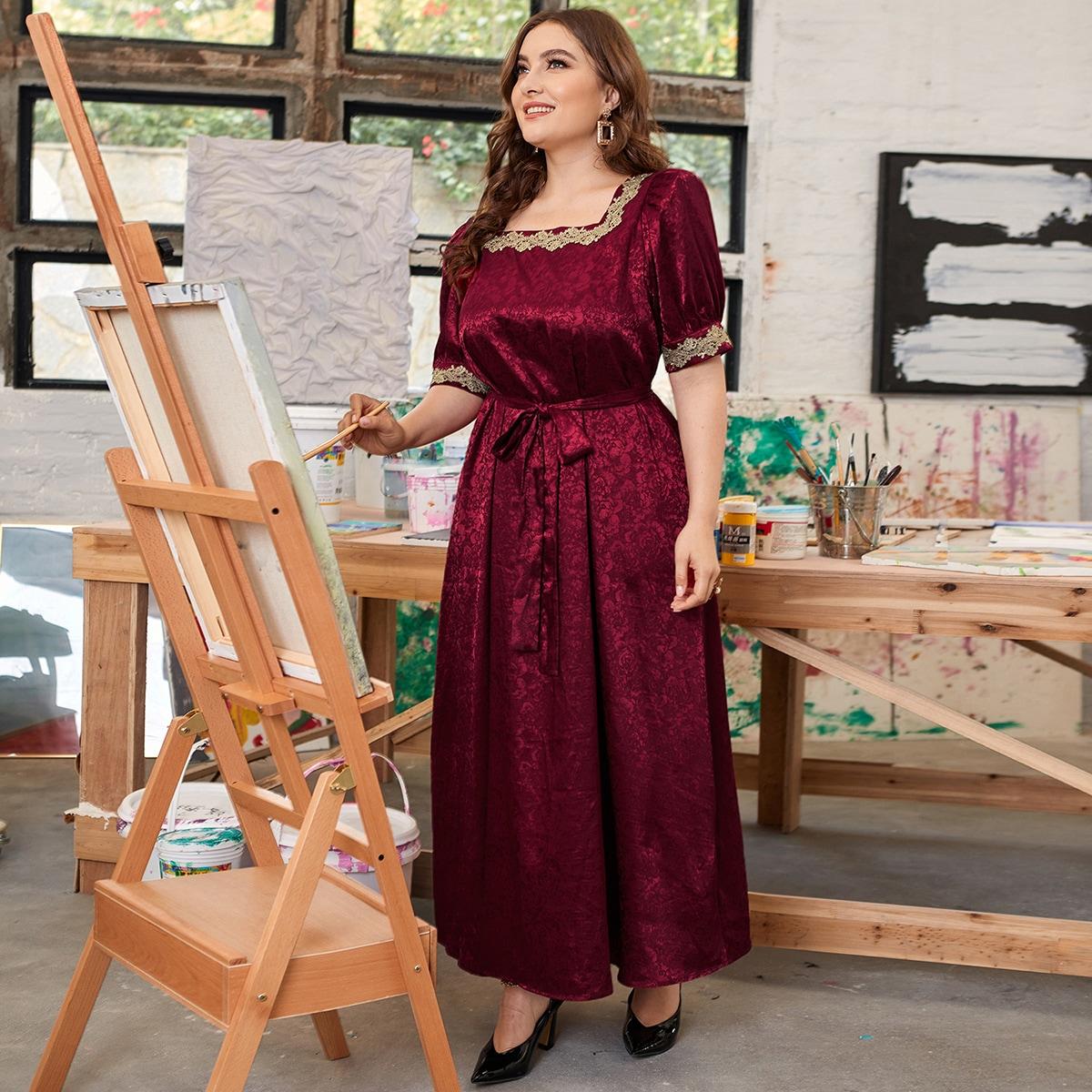 Аппликация Цветочный Очаровательный Платья размер плюс