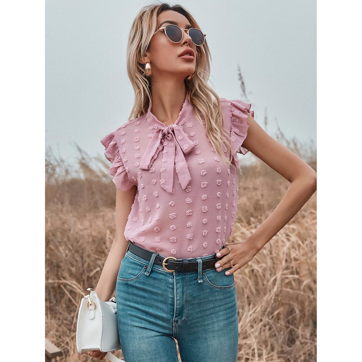 Блуза в горошек с воротником-бантом прозрачный из шифона SheIn swblouse23201210172