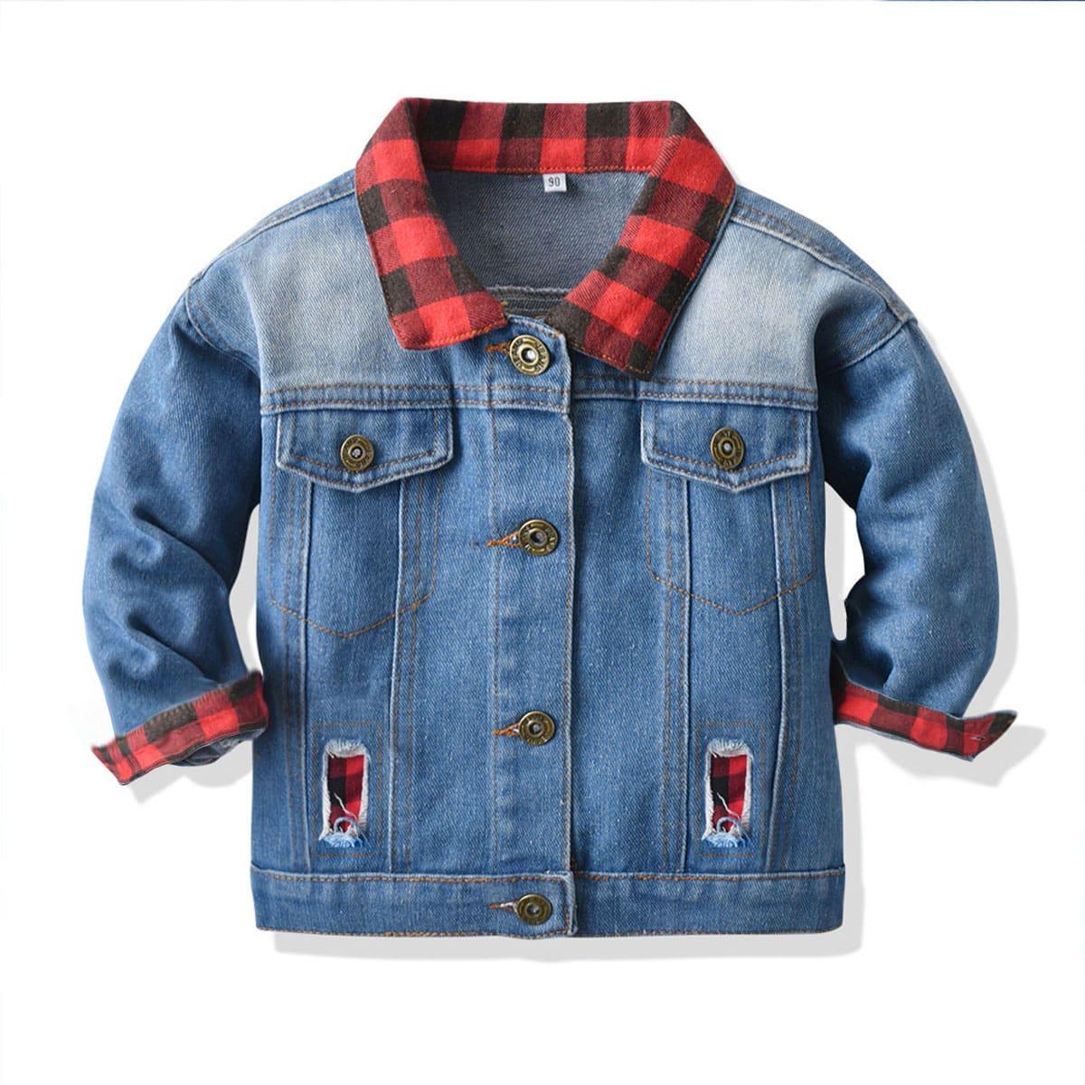 Джинсовая куртка в клетку для маленьких девочек с рваными дырочками