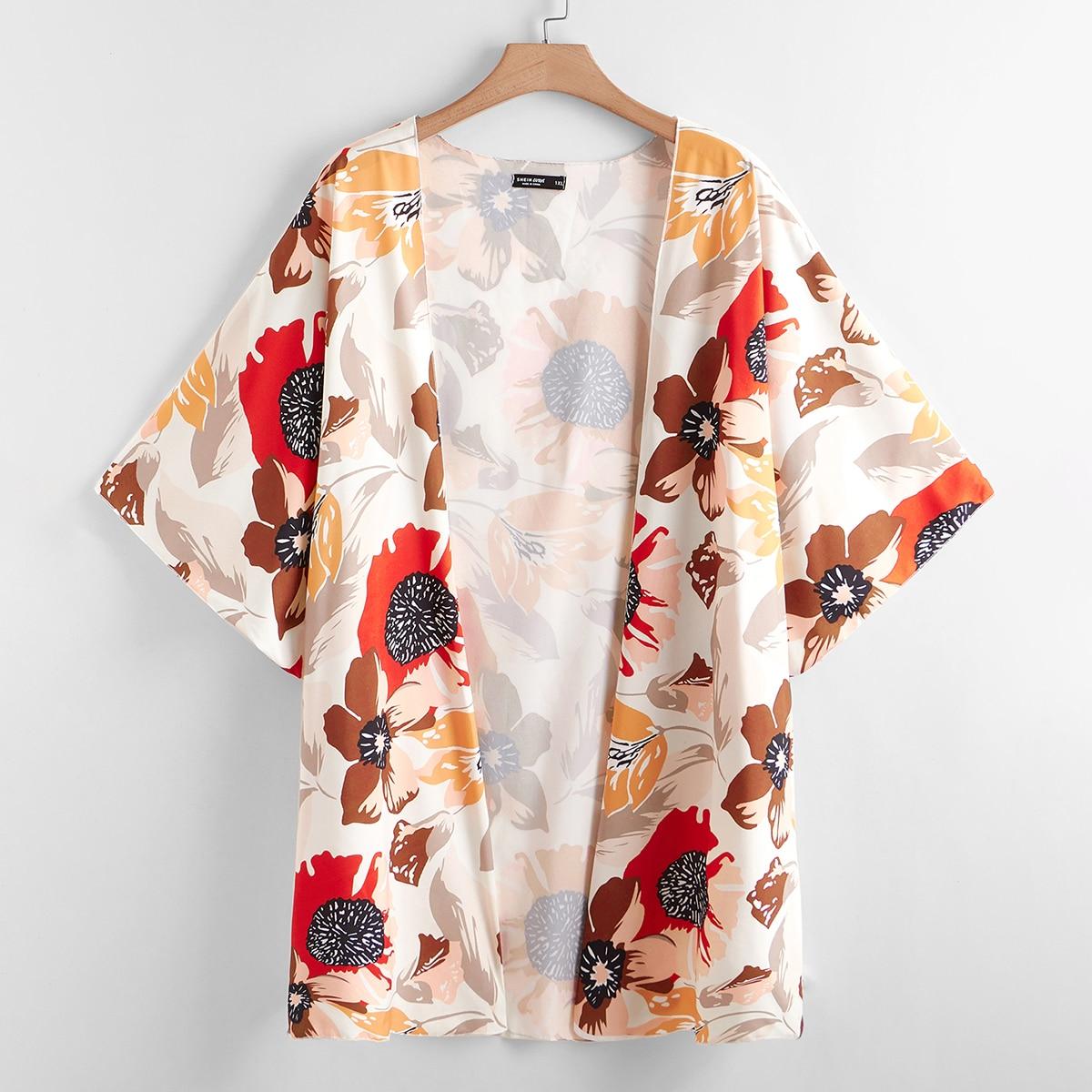 Со цветочками бохо кимоно размер плюс