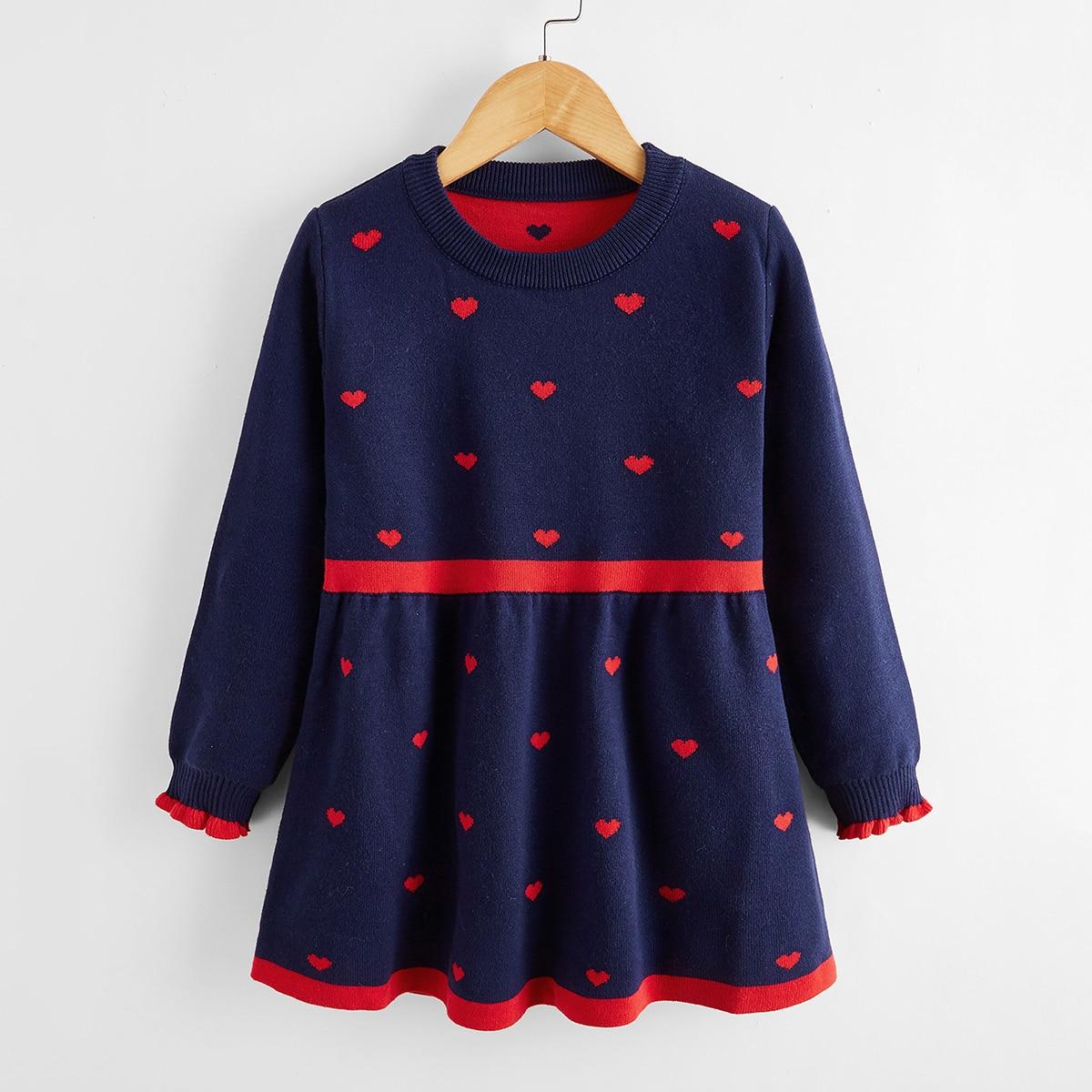 Оборка сердечко милый трикотажные платья для девочек