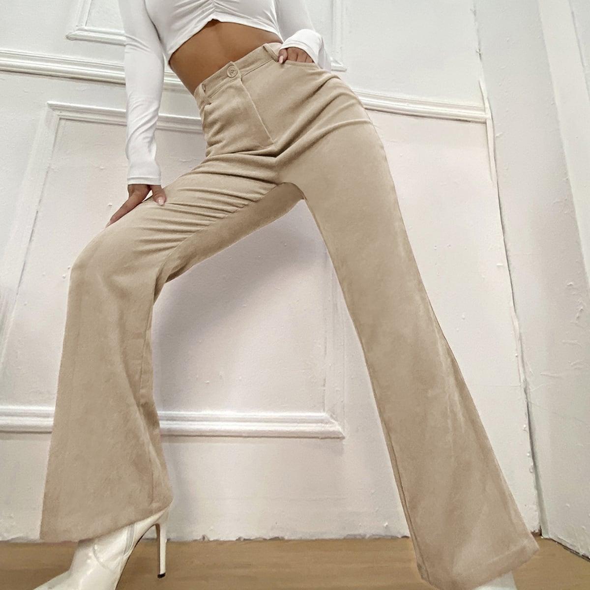 Вельветовые брюки-клеш с карманом