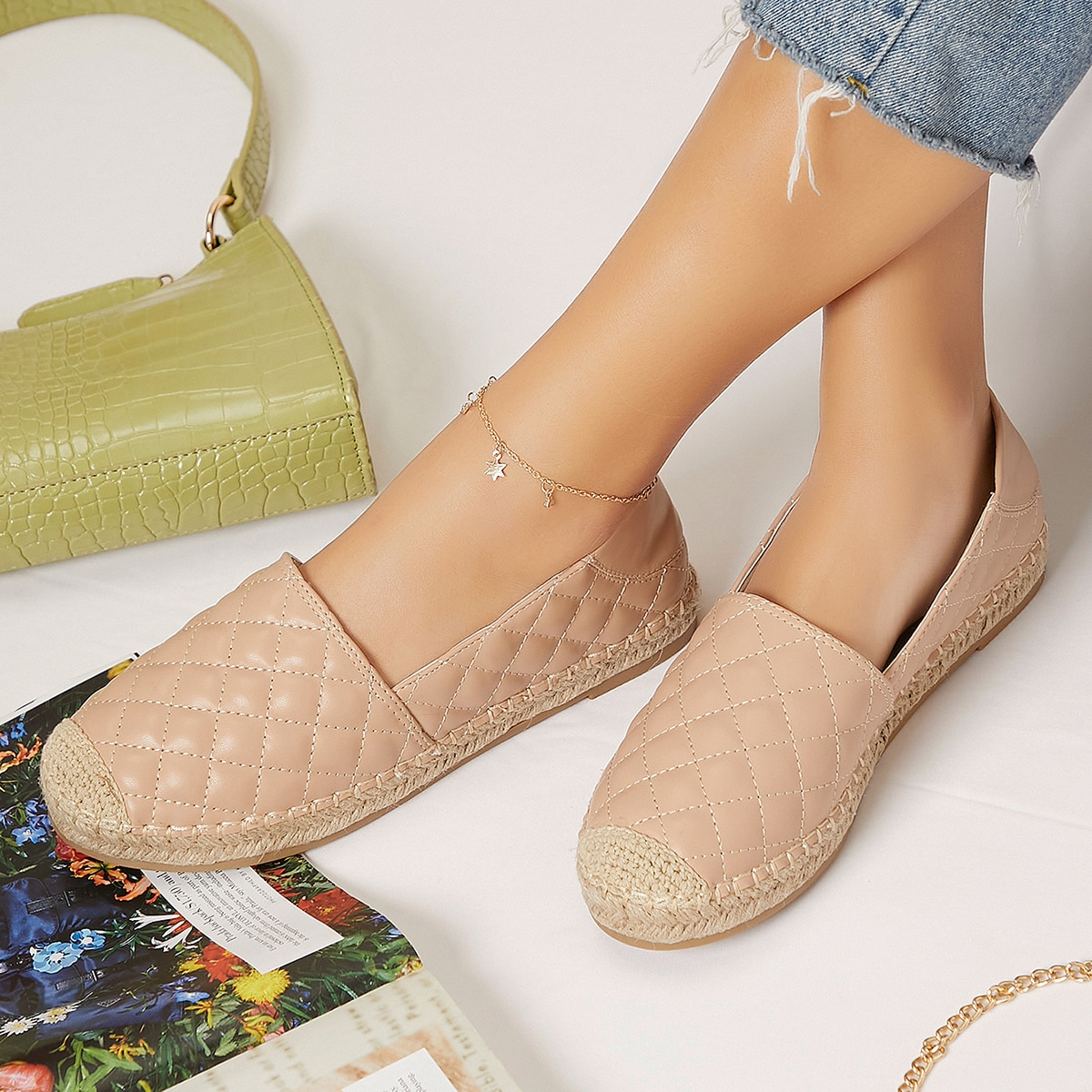 Quilted Vegan Leather Espadrille Flats, SHEIN  - buy with discount