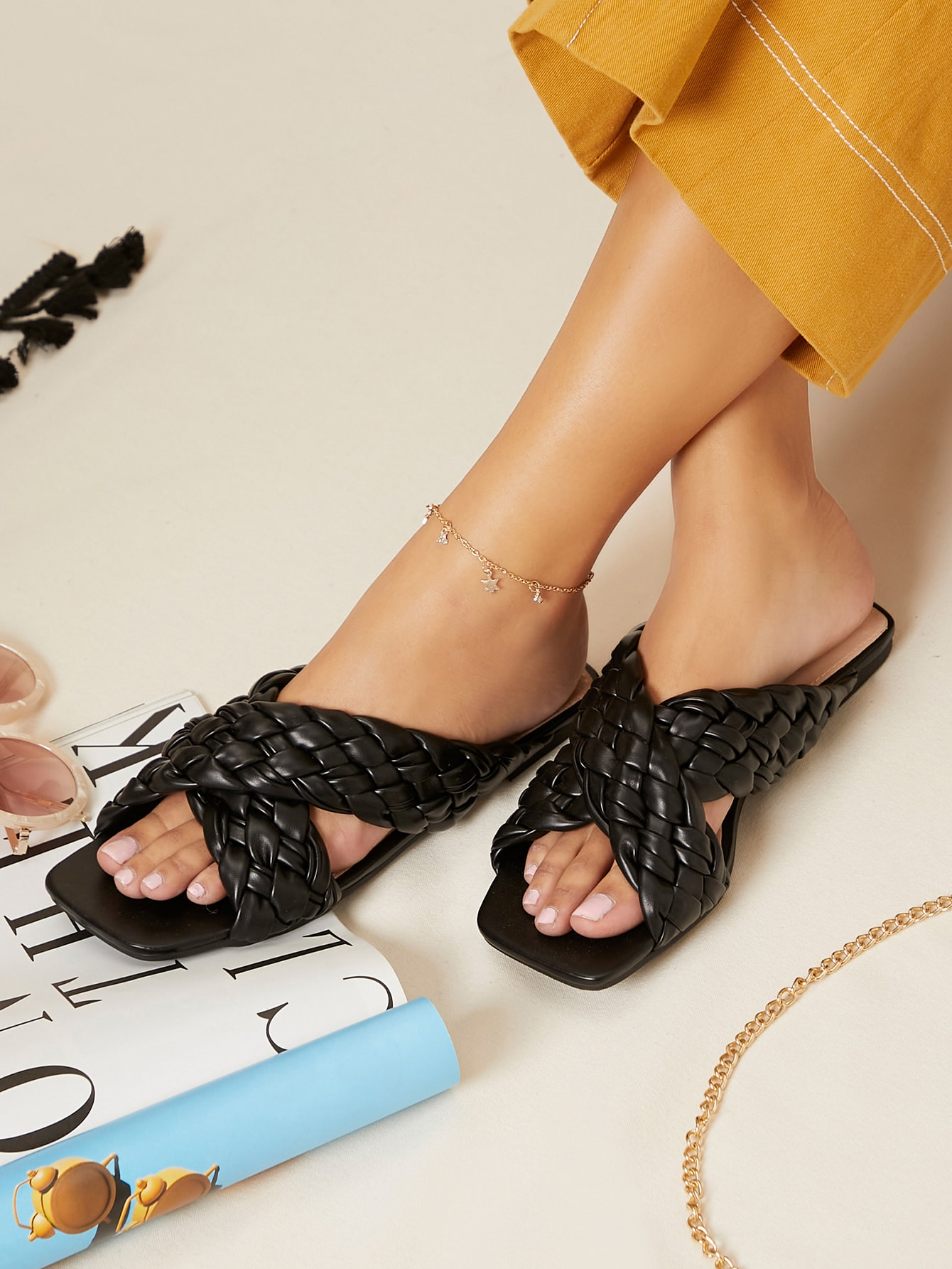 Faux Leather Braided Crisscross Vamp Sandals thumbnail