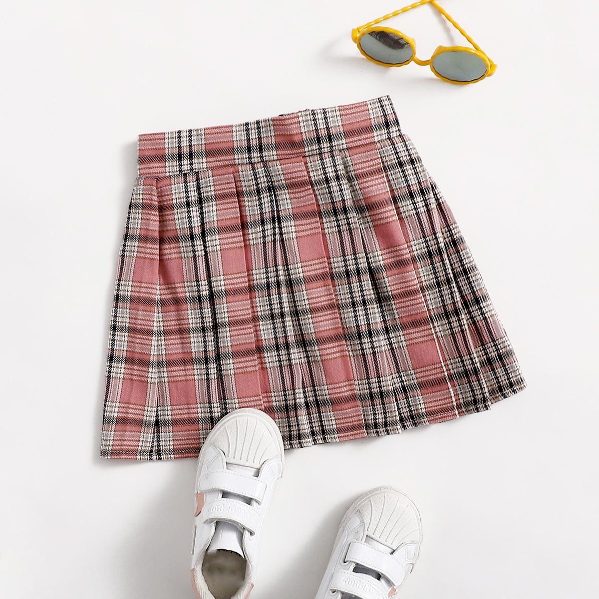 Плиссированное клетчатый институтский юбки для девочек